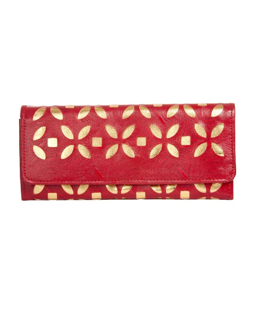 Envie Faux Leather Embellished Red Magnetic Snap Closure    Clutch