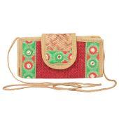 Aliado Jute Red and Beige Coloured Velcro Closure Sling Bag