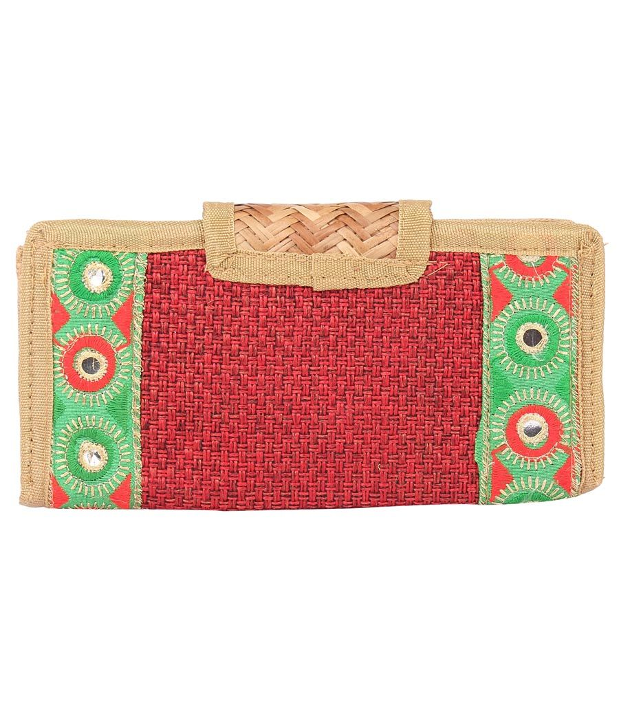 Aliado Jute Red and Beige Coloured Velcro Closure Sling Bag