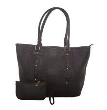 Aliado Faux Leather Printed Black Zipper Closure Ladies Handbag