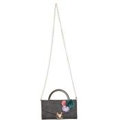 Envie Faux Leather Grey Melange Embellished Fold Over Tuck Lock Sling Bag for Women