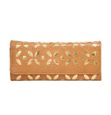 Envie Faux Leather Embellished Brown Coloured Magnetic Snap  Closure   Clutch