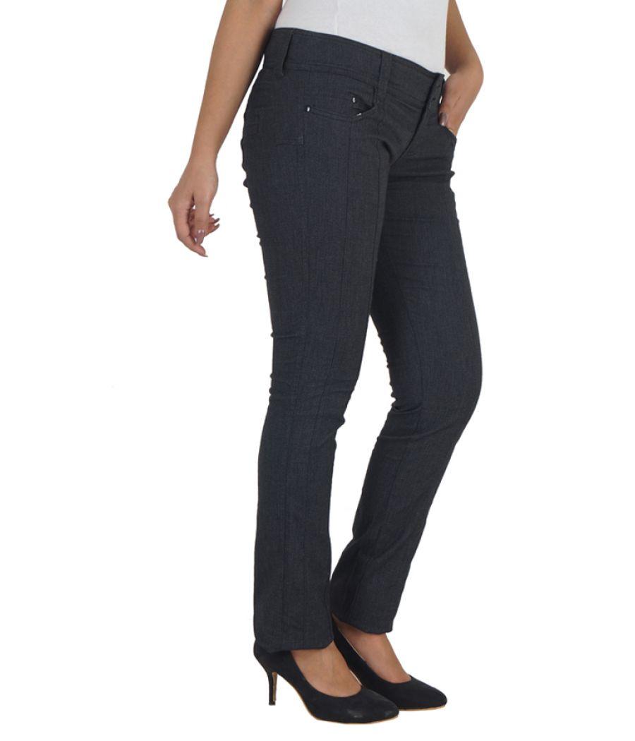 Zara Cotton Solid Flat Front Full Length Regular Waist Black Skinny Trouser