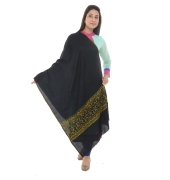 Black/Green Stole Embroidered Shawl