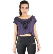 Purple/Black Beads Crop Top