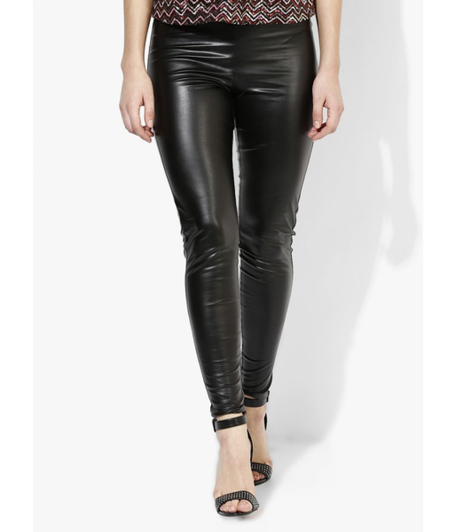 Topshop Faux Leather Back Jeggings