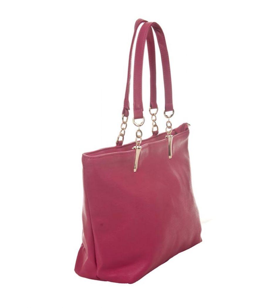 Aliado Faux Leather Solid Pink Zipper Closure Handbag