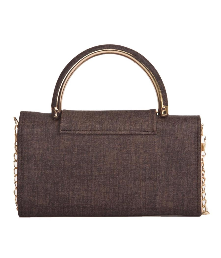 Envie Faux Leather Brown Embellished Tuck Lock Sling Bag