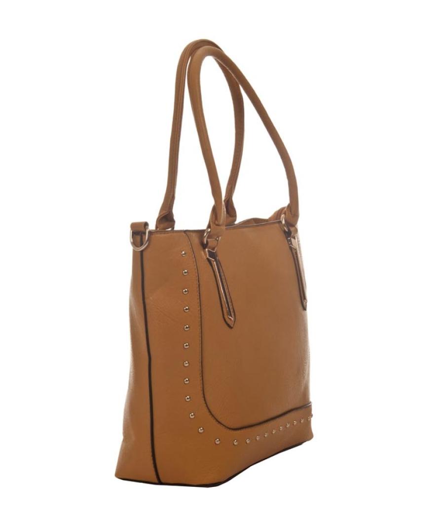 Aliado Faux Leather Solid Beige Zipper Closure Stylish Tote Bag