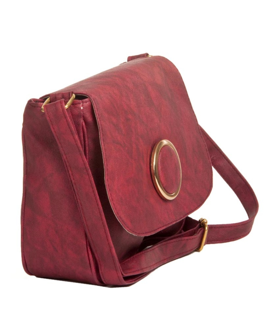 Envie Faux Leather Printed Magenta Magnetic Snap Crossbody Bag