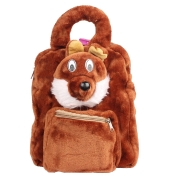 Envie Faux Fur Coffee Brown  Coloured Zipper Closure Backpack