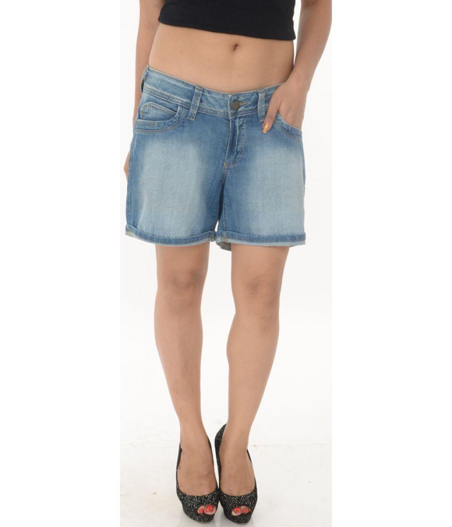 Promod Blue Washed Denim Shorts