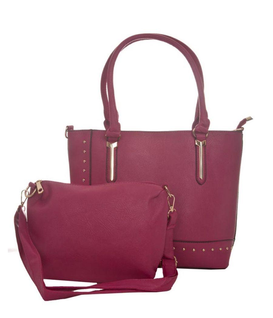 Aliado Faux Leather Solid Pink Zipper Closure Handbag Combo