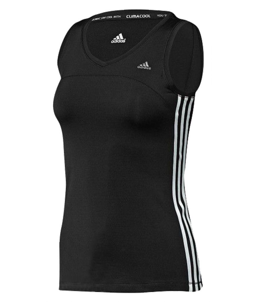 Adidas Polyester Black & White Tank Top