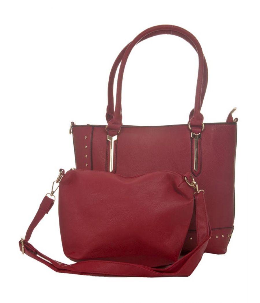 Aliado Faux Leather Solid Maroon Zipper Closure Handbag