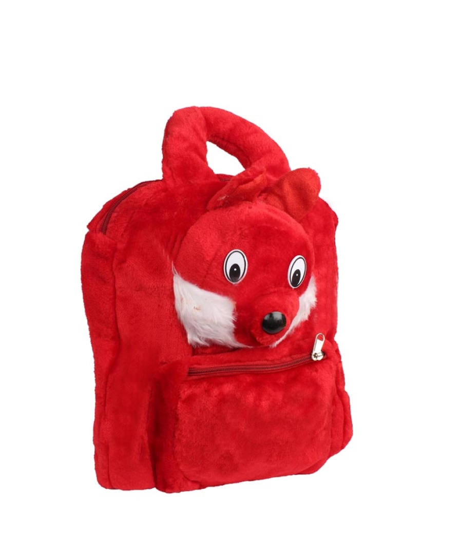 Envie    Faux Fur Red  Zipper Closure Backpack