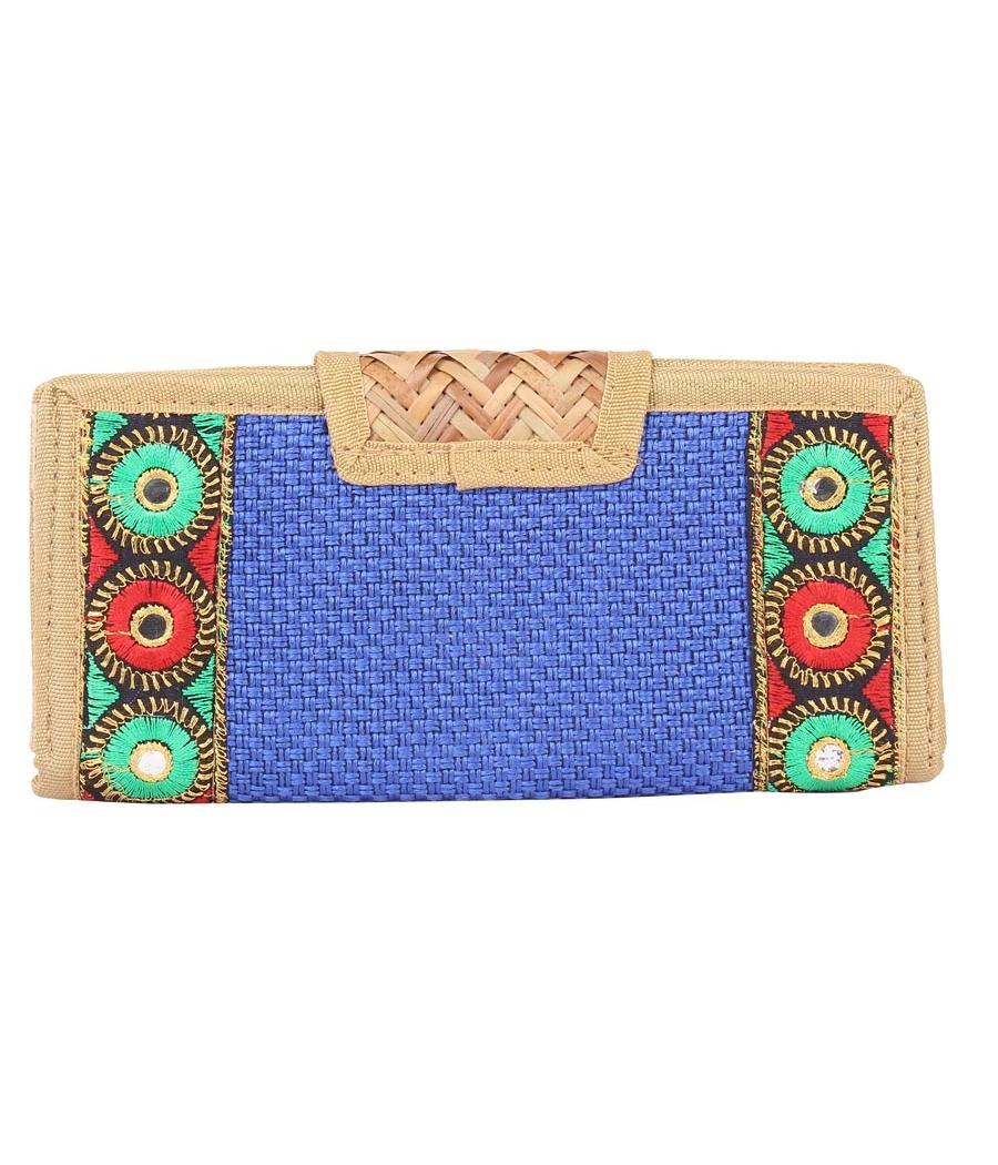 Aliado Jute Blue and Beige Coloured Velcro Closure Sling Bag