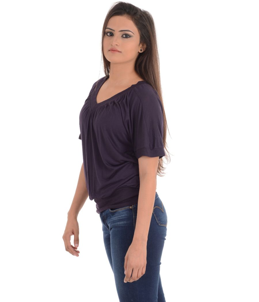 MNG Basics Viscose Solid Purple Coloured Top