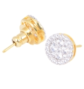 Golden Studs With White Stone