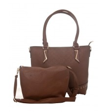 Aliado Faux Leather Solid Coffee Brown Zipper Closure Handbag Combo