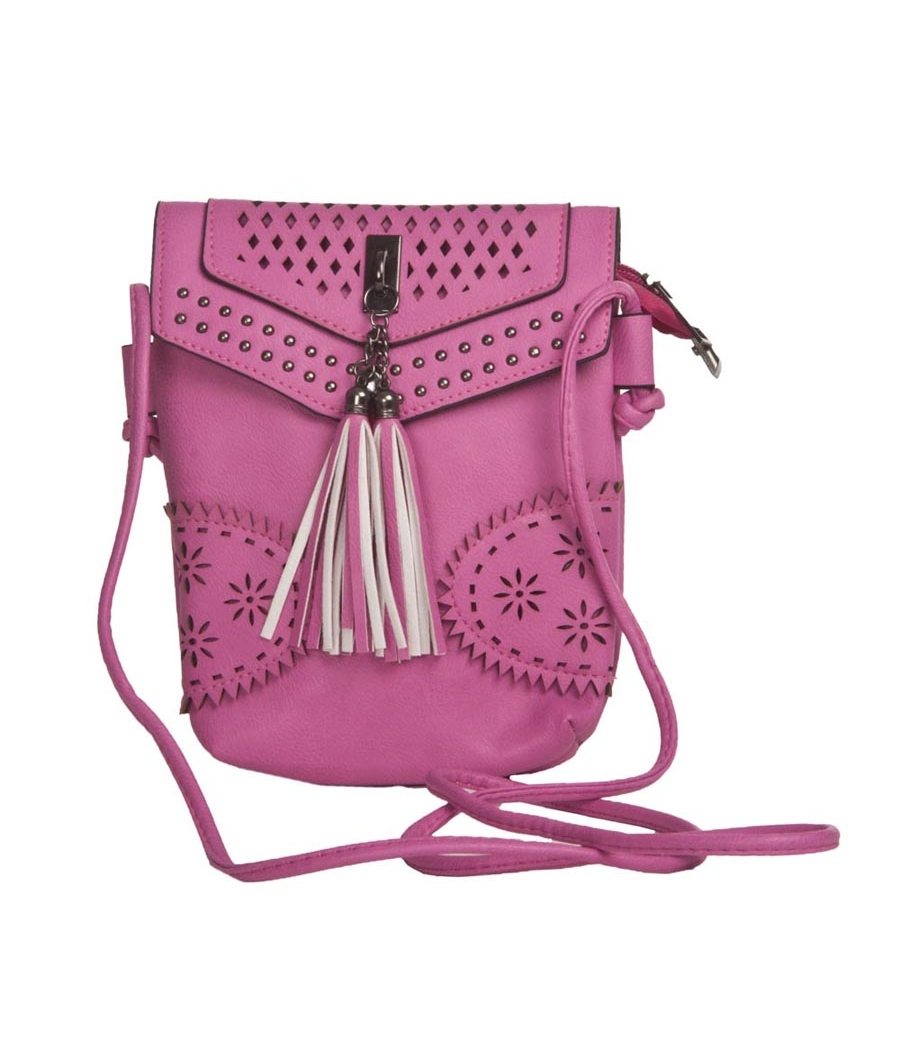 Envie Faux Leather Pink Magnetic Snap Crossbody Bag for  Women