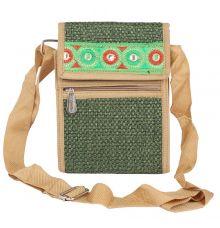 Aliado Jute Green  Coloured Velcro Closure Sling Bag
