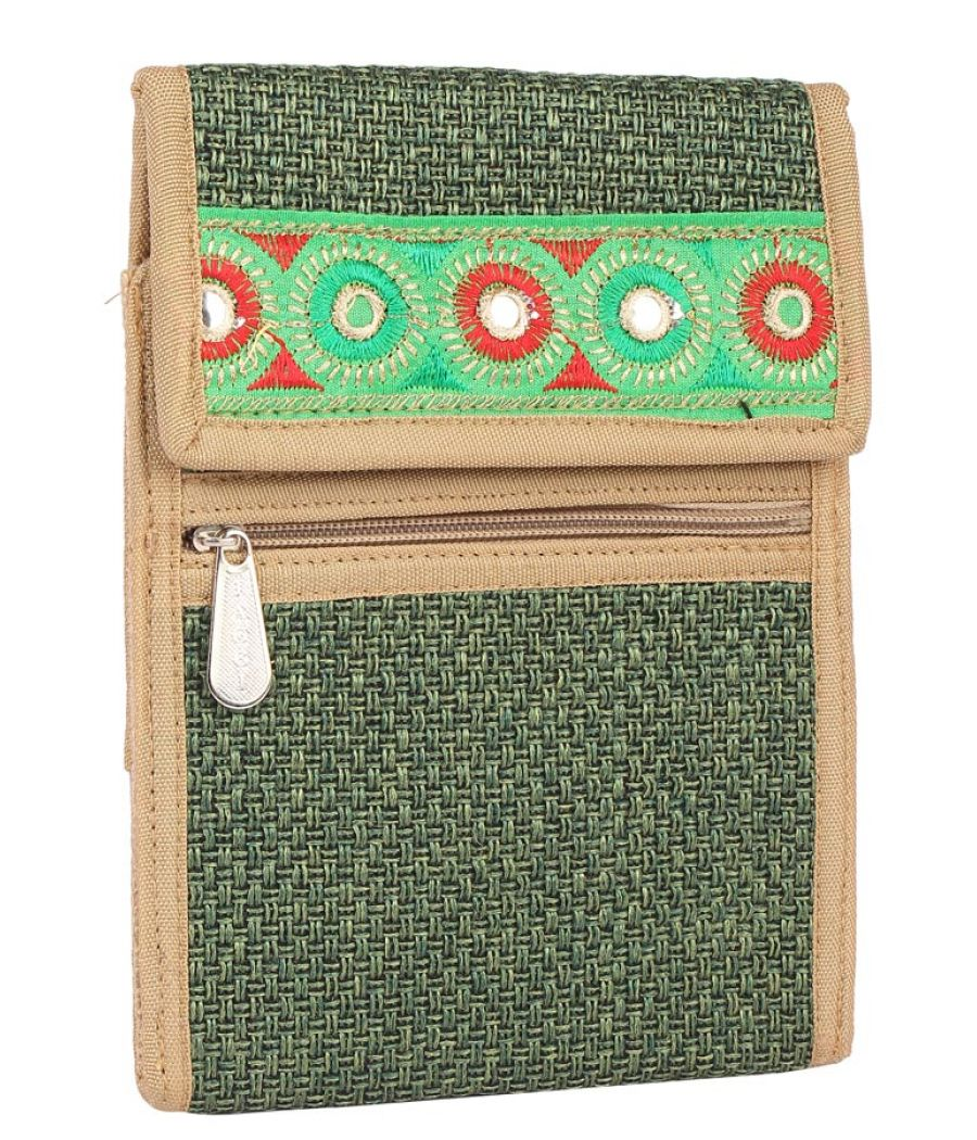 Aliado Jute Green  Coloured Velcro Closure Sling Bag