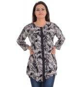 Femella Black and White Printed Tunic Shirt