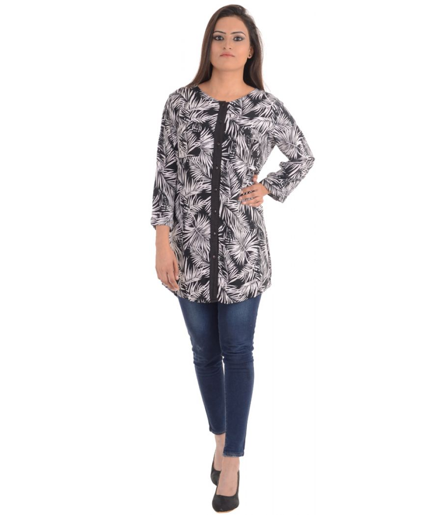 Femella Black and White Printed Tunic Shirt