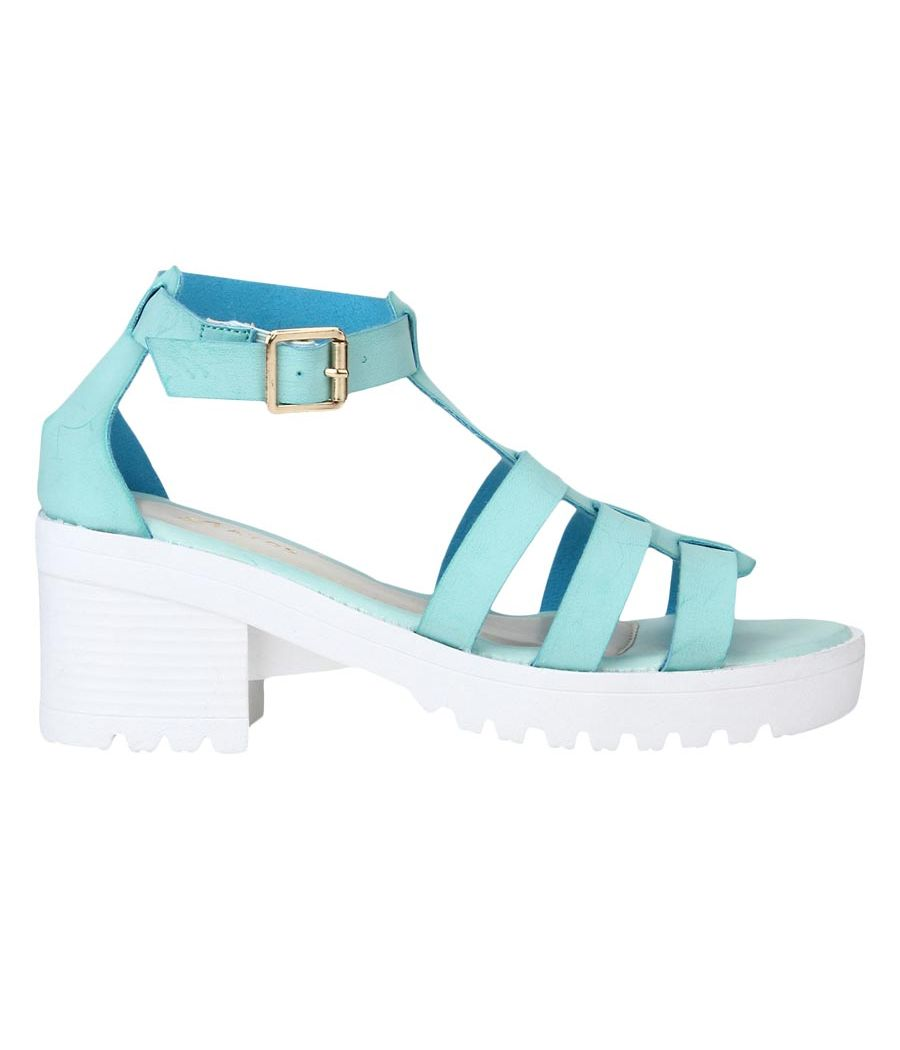 efa3a4806eb8c0 Buy Estatos Faux Leather Block Heel Platform White Sole Strappy Blue Teal  Gladiator Sandals for Women Online in India - Etashee