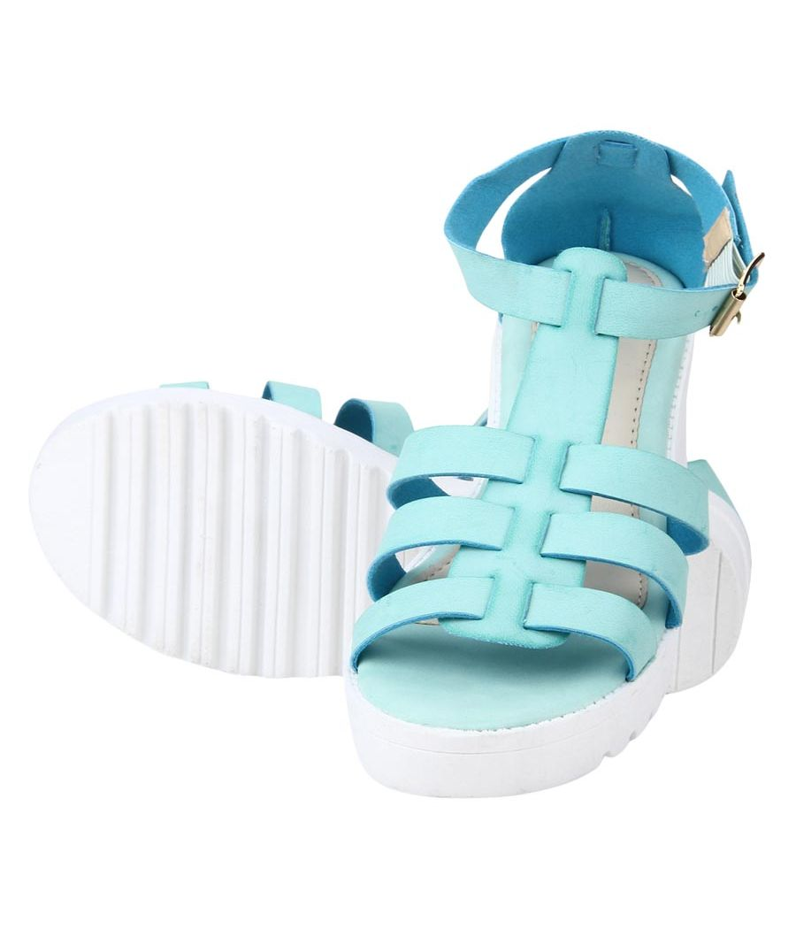 Estatos Faux Leather Block Heel Platform White Sole Strappy Blue/Teal Gladiator Sandals for Women