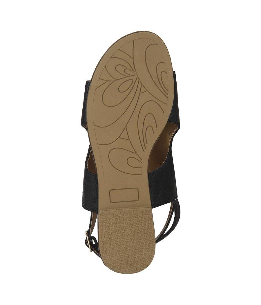 Estatos Black Buckle Closure Ankle Strap Open Toe Flat Sandals