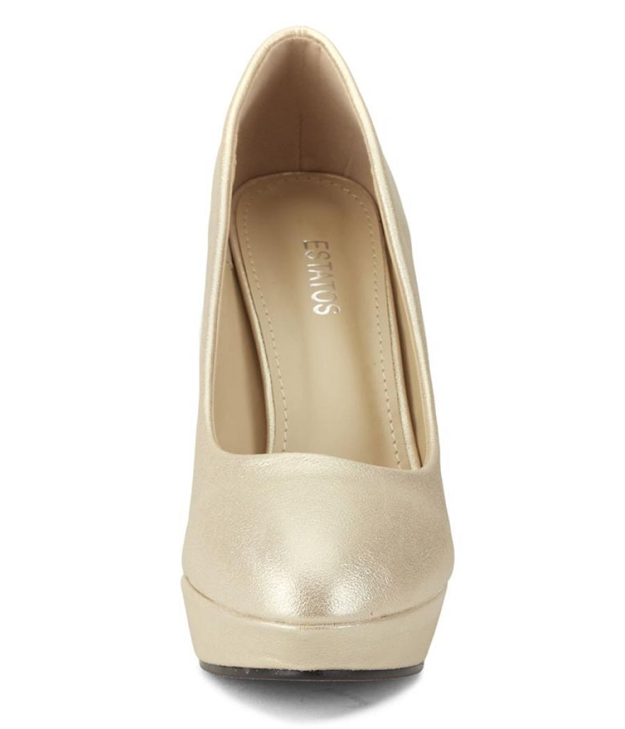 Estatos Synthetic Leather Pointed Heeled     Beige Stilletos
