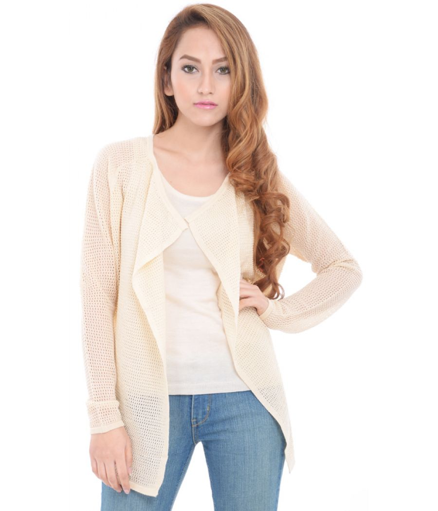 Estance Knitted  eyelet full sleeves Cream Shrug