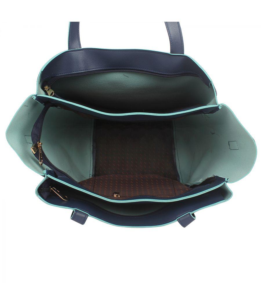 Aliado Blue Artificial Leather Zipper Closure Handbag