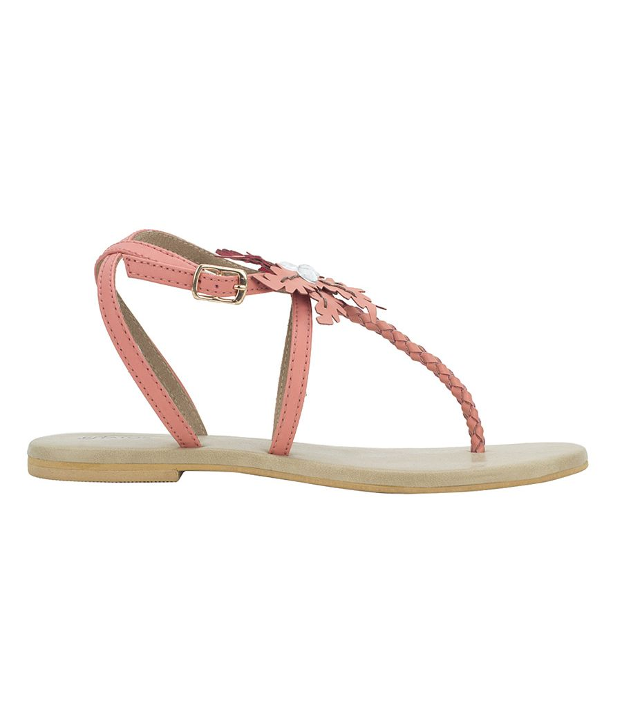 Estatos Summer Cool Leather Embellished with Laser Cut Flower Buckle Closure Peach Flat Sandals for Women