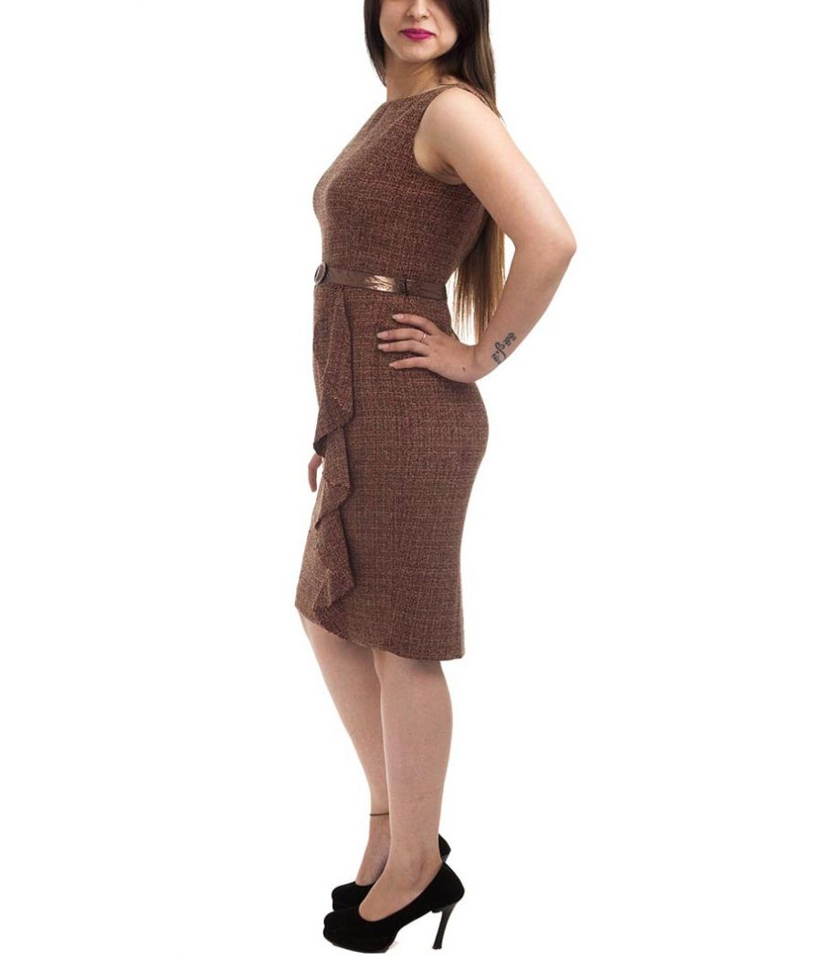 Jones New York Geometric Print Brown & Black Sleeveless Boat Neck Ruffle Shift Dress