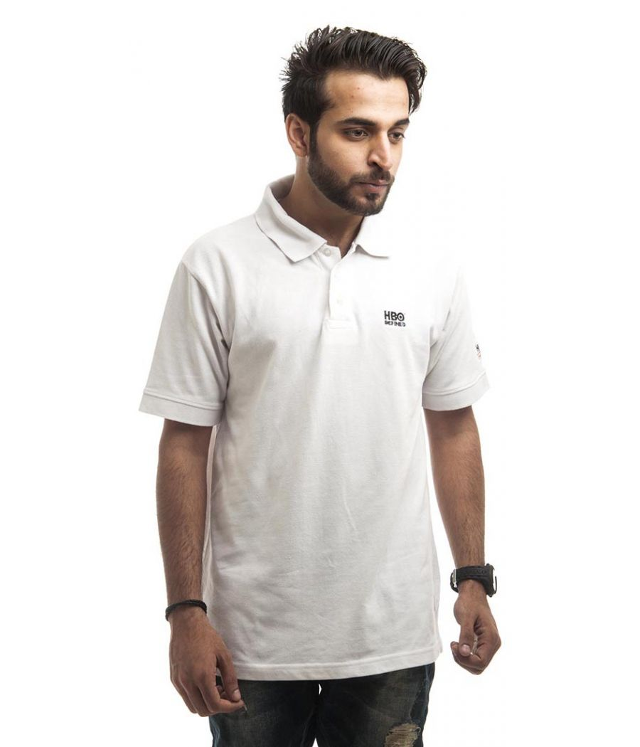 HBO Polycotton Plain White Half Sleeved Below Waist Casual Polo T-shirt
