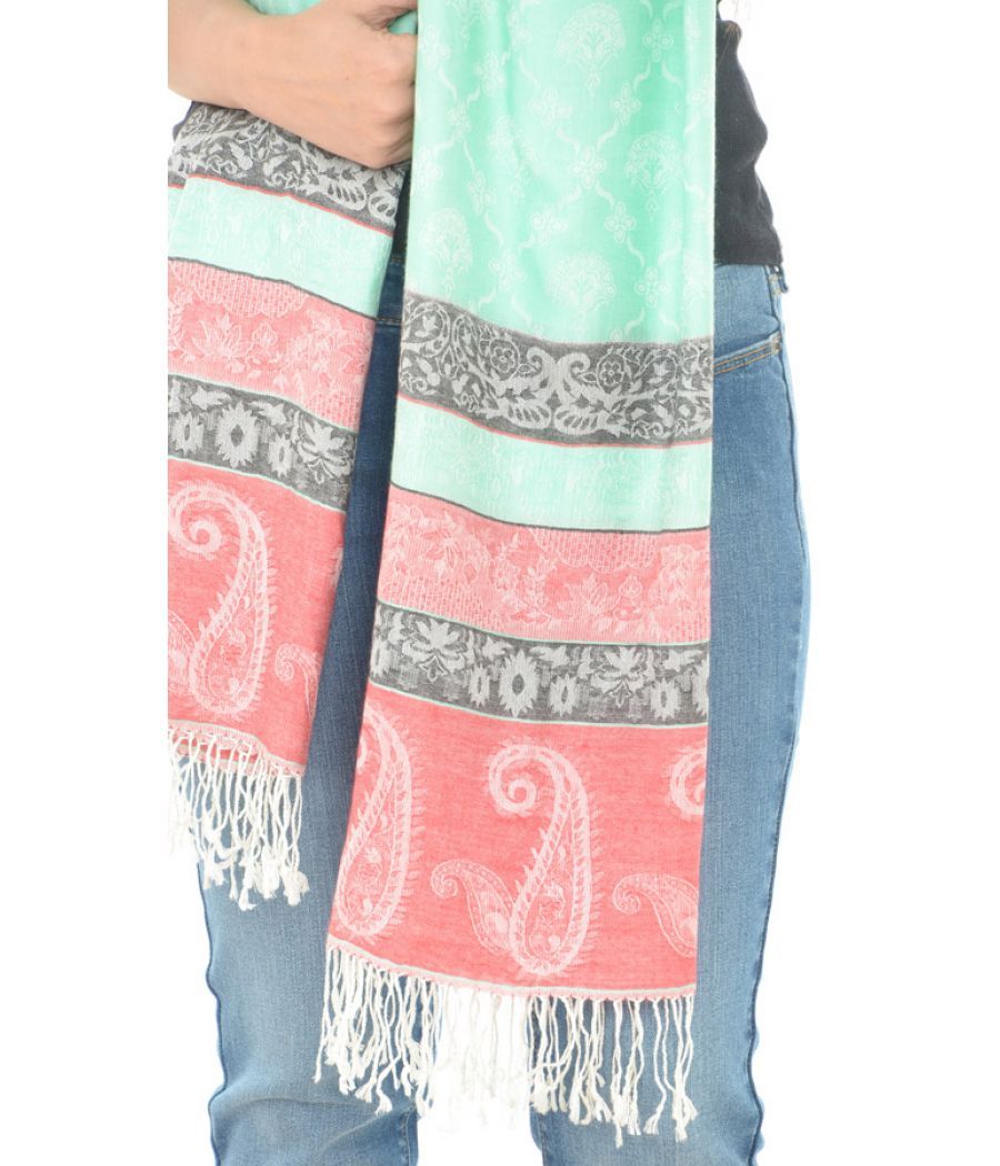 Cotton Blend Paisley Print Multi Stole