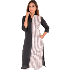 W Cotton Striped White/Black Kurti