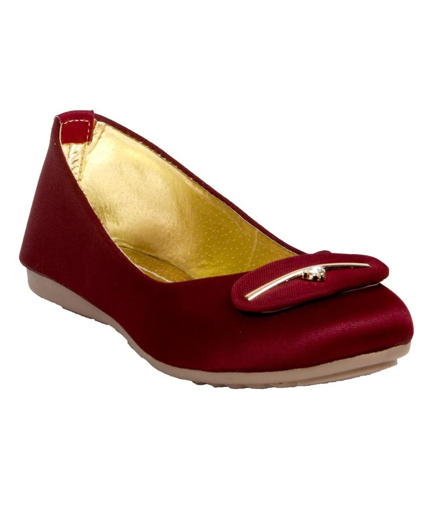 Rudra Collection Synthetic Leather Maroon Broad Toe Flat Bellies