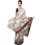 Etashee Certified Cotton Silk White & Cream Saree