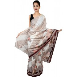 Etashee Certified Cotton Silk White & Cream Saree