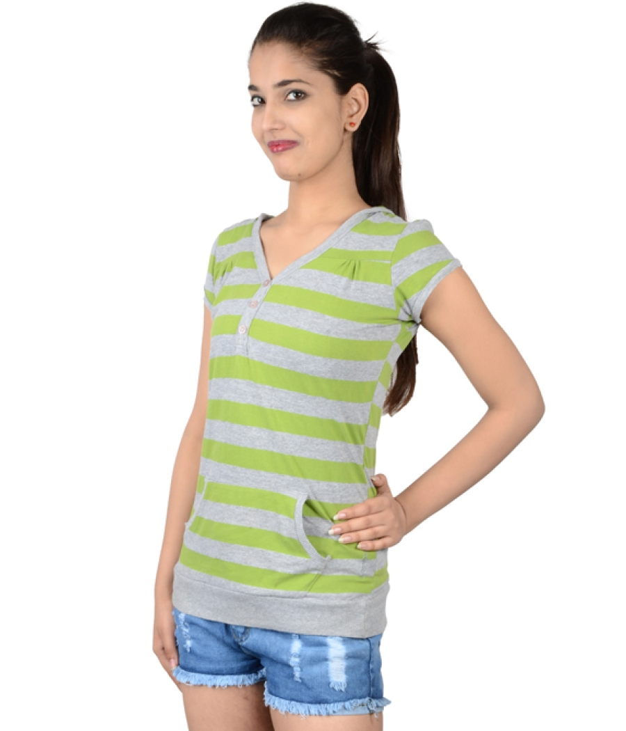 Life Green/Grey Henley Style Top
