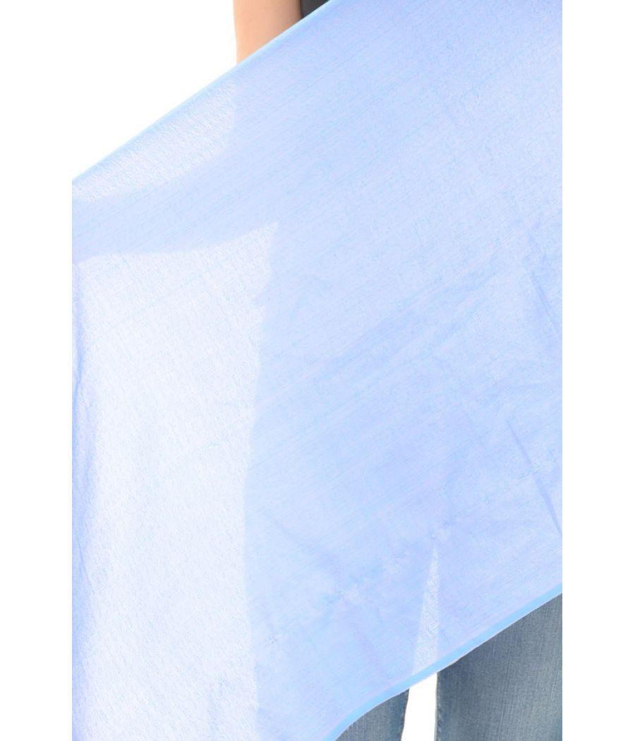 Cotton Plain Fringed Blue Stole