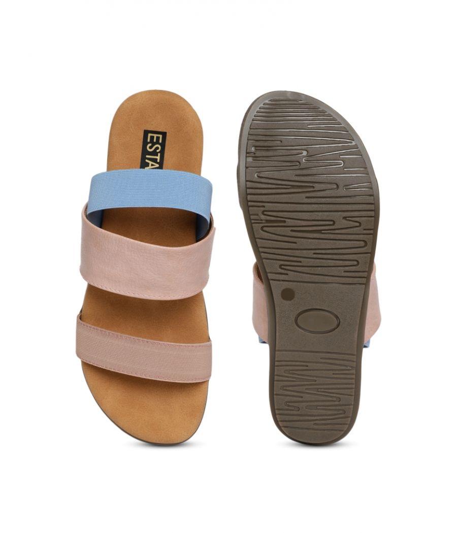 Estatos PU Leather Open Toe Buckle Closure Peach Flat Sandals for Women