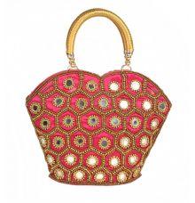Envie Cloth/Textile/Fabric Embellished Pink & Gold Zipper Closure Party Handbag