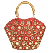 Envie Cloth/Textile/Fabric Embellished Red & Gold Zipper Party Bag