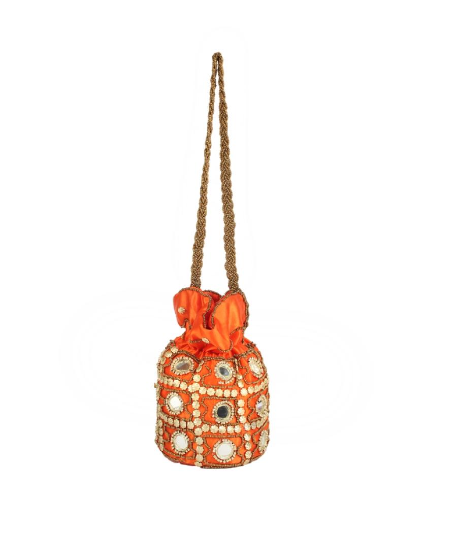 Envie Cloth/Textile/Fabric Embellished Orange Coloured Potli Bag