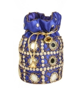 Envie Cloth/Textile/Fabric Embellished Blue Coloured Potli Bag